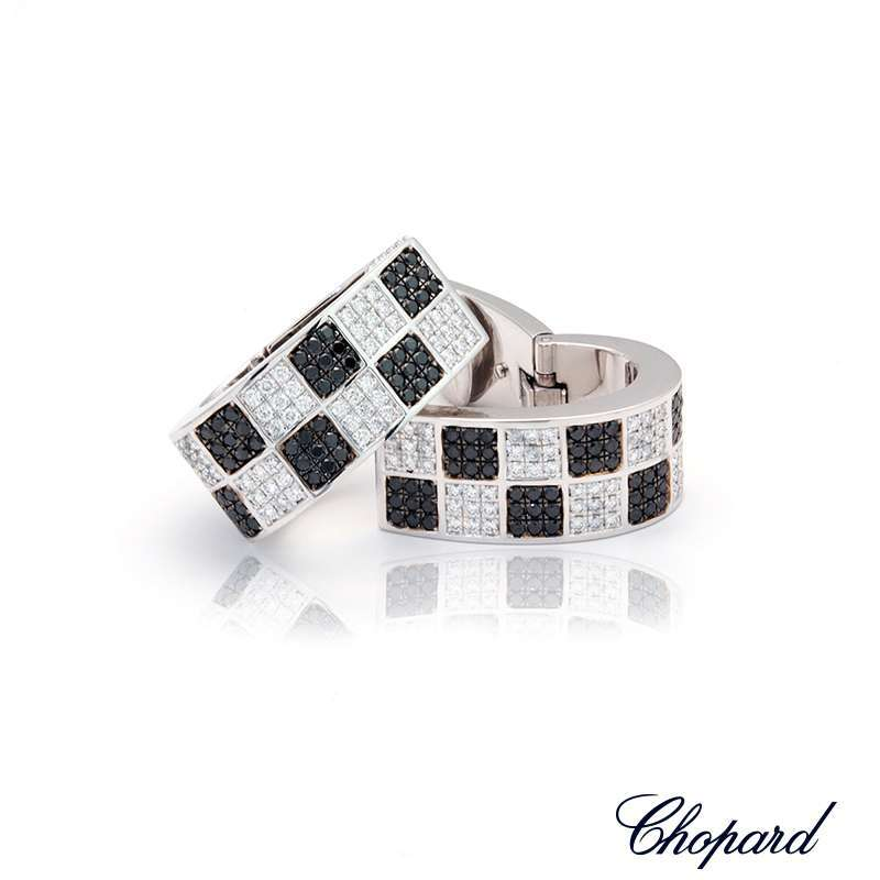 Chopard 18k White Gold Black and White Diamond Earrings 84/3696-1001